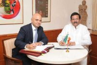 The MoS (IC) for Culture and Tourism, Shri Shripad Yesso Naik and the Minister of Culture, Media and Sport of UK, Sajid Javed