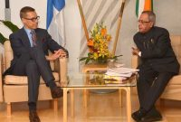 The Prime Minister of Finland, Alexander Stubb meeting the President, Pranab Mukherjee, at Helsinki, in Finland on October 15, 2014.