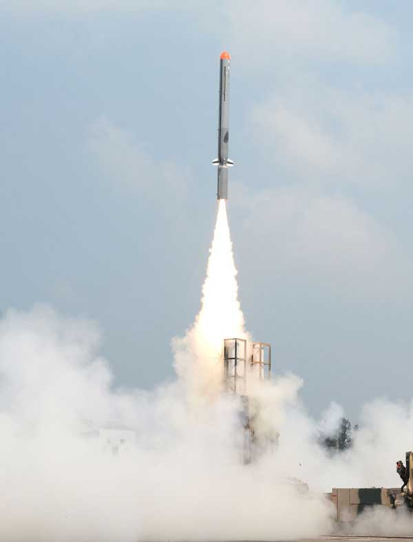 A view of the successful launch of sub-sonic cruise missile 'Nirbhay' from Interim Test Range, Balasore, Odisha on October 17, 2014.
