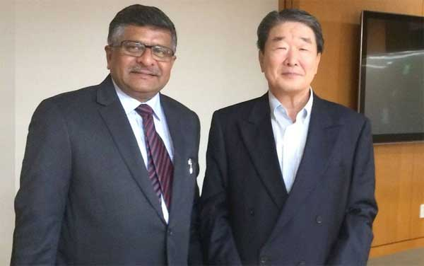 The Union Minister for Communications & Information Technology and Law & Justice, Ravi Shankar Prasad meeting the Vice Chairman and CEO of LG Electronics, Bon Joon Koo, in Seoul, South Korea on October 17, 2014.