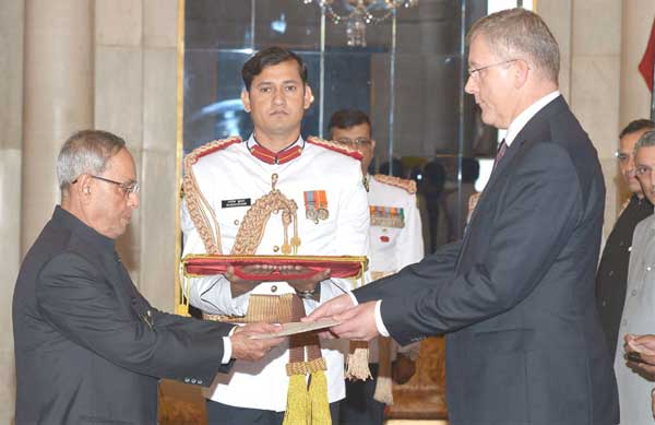 The Ambassador-designate of Latvia, Aivars Groza presenting his credential to the President, Pranab Mukherjee, at Rashtrapati Bhavan, in New Delhi on October 21, 2014.