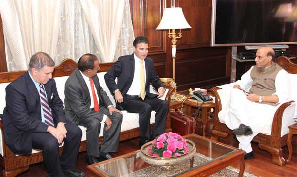 The Director General, National Security Council, Israel, Mr. Josef Kohim calling on the Union Home Minister, Shri Rajnath Singh, in New Delhi on October 21, 2014. The National Security Advisor, Ajit Doval and the Israeli Ambassador to India, Daniel Carmon are also seen.