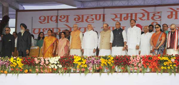 The Prime Minister, Narendra Modi attending the swearing in ceremony of new Haryana Chief Minister, at Panchkula, Haryana on October 26, 2014.