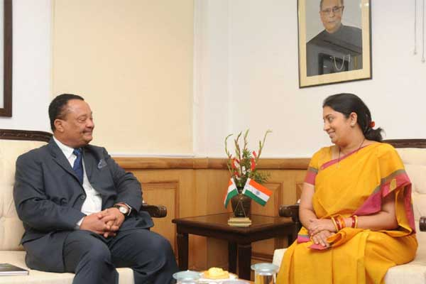 The High Commissioner of the Republic of Namibia, Pius Dunaiski calling on the Union Minister for Human Resource Development, Smriti Irani, in New Delhi on October 27, 2014.