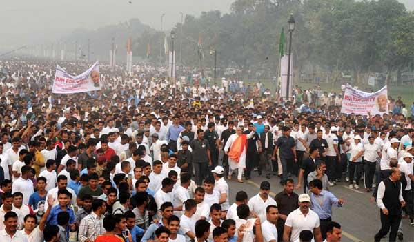 The Prime Minister, Narendra Modi at Run for Unity, at the Rajpath for Rashtriya Ekta Diwas Celebrations, in New Delhi on October 31, 2014.
