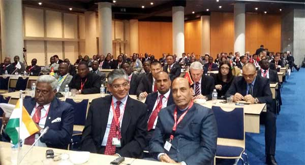 The Union Home Minister, Rajnath Singh led Indian delegation participating in the third Interpol General Assembly meet, in Monaco on November 04, 2014.