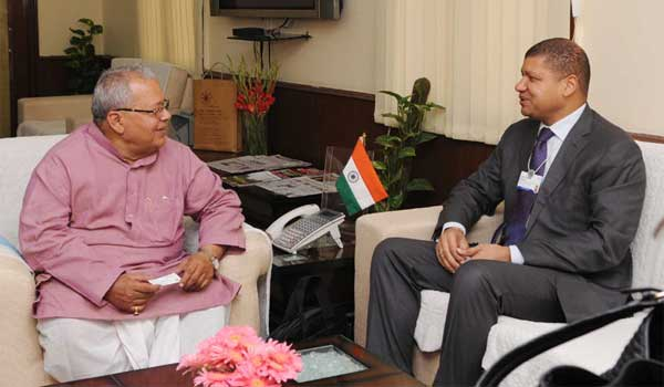 The Minister of the Chamber of Commerce and Industry of Cote d'Ivoire, Jean-Louis Billon meeting Union Minister for Micro, Small and Medium Enterprises, Kalraj Mishra, in New Delhi on November 05, 2014.