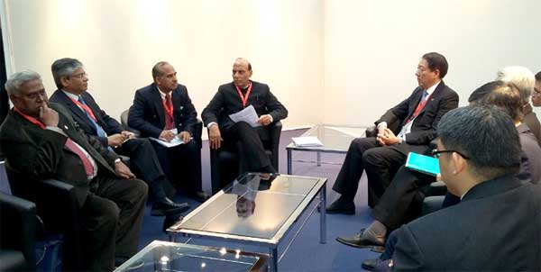 The Union Home Minister, Rajnath Singh led Indian delegation meeting the Deputy Prime Minister of Singapore, Chee Hean Teo on the sidelines of the third Interpol General Assembly meet, in Monaco on November 04, 2014.