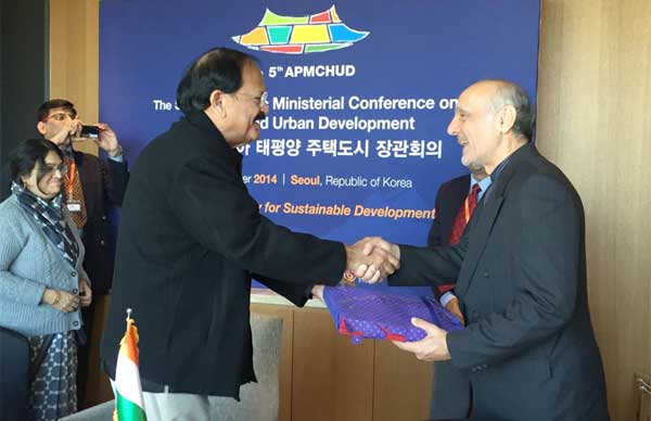 The Union Minister for Urban Development, Housing and Urban Poverty Alleviation and Parliamentary Affairs, M. Venkaiah Naidu meeting the Ambassador of Iran, Ahmad Masoumifar, at Seol, in South Korea on November 04, 2014. The Secretary, Ministry of Urban Development, Housing and Urban Poverty Alleviation, Anita Agnihotri is also seen.