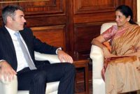 The Minister of Primary Industries, New Zealand, Nathan Guy meeting the MoS for Commerce & Industry (IC), Finance and Corporate Affairs, Nirmala Sitharaman, in New Delhi on November 05, 2014.