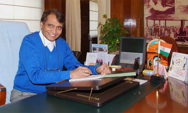 Suresh Prabhu taking charge as the Union Minister for Railways, in New Delhi on November 10, 2014.