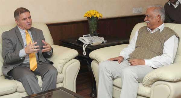 The Ambassador of Israel to India, Daniel Carmon calling on the Union Minister for Civil Aviation, Ashok Gajapathi Raju Pusapati, in New Delhi on November 11, 2014.