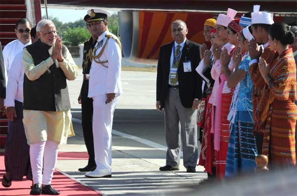 The Prime Minister, Narendra Modi arrives in Nay Pyi Taw, Myanmar on November 11, 2014.