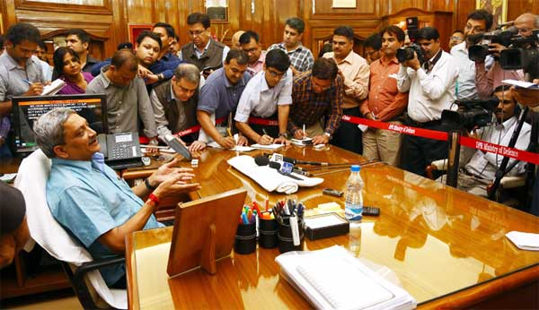 Manohar Parrikar interacting with the media after taking charge as new Defence Minister, in New Delhi on November 10, 2014.