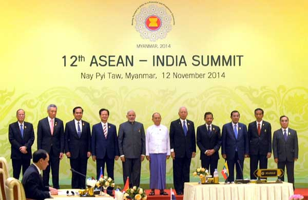 The Prime Minister, Narendra Modi in a group photo with the Heads of State/Government of 12th ASEAN-India Summit, in Nay Pyi Taw, Myanmar on November 12, 2014.
