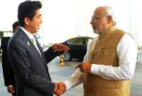The Prime Minister, Narendra Modi with the Prime Minister of Japan, Shinzo Abe, in Nay Pyi Taw, Myanmar on November 13, 2014.