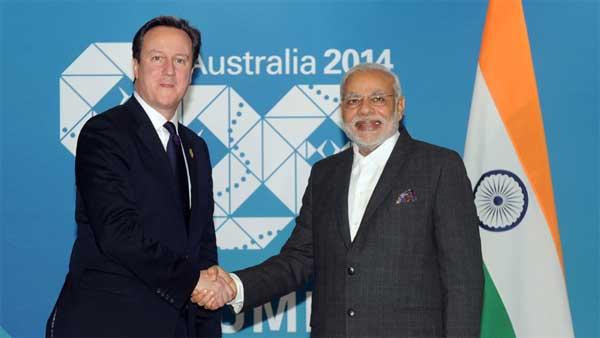 The Prime Minister, Narendra Modi meeting the Prime Minister of United Kingdom, David Cameron, in Brisbane, Australia on November 14, 2014.