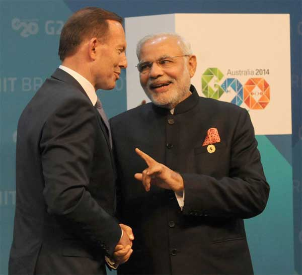 The Prime Minister, Narendra Modi being greeted by the Prime Minister of Australia, Tony Abbott at the Opening Ceremony of the G20 summit, in Brisbane, Australia on November 15, 2014.