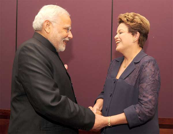 The Prime Minister, Narendra Modi with the President of Brazil, Dilma Rousseff ahead of G-20 Summit, in Brisbane, Australia on November 15, 2014.