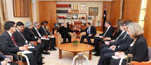 The Prime Minister, Narendra Modi meeting the Prime Minister of Australia, Tony Abbott, at Parliament House, in Canberra, Australia on November 18, 2014.