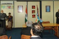 The Prime Minister, Narendra Modi and the Prime Minister of Fiji, Frank Bainimarama giving joint statement,