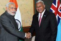 The Prime Minister, Narendra Modi meeting the Prime Minister of Fiji, Frank Bainimarama, at the bilateral talks, in Suva, Fiji