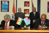 The Prime Minister, Narendra Modi and the Prime Minister of Fiji, Frank Bainimarama witnessing the signing of agreements