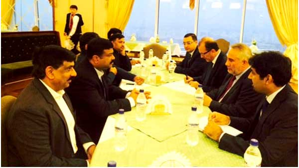 The Minister of State (Independent Charge) for Petroleum and Natural Gas, Dharmendra Pradhan meeting the Minister of Mines and Mineral Resources of Afghanistan, Barikzai, in Ashgabat, Turkmenistan on November 19, 2014.