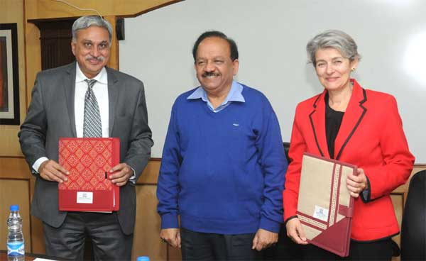 The DG UNESCO, Irina Bokova and the Secretary, Ministry of Earth Sciences, Dr. Shailesh Nayak signed the Letter of Intel between ESSO-MoES and UNESCO for cooperation in the field of Reducing Disaster Risks and Capacity building in Earth Sciences, in the presence of the Union Minister for Science & Technology and Earth Sciences, Dr. Harsh Vardhan, in New Delhi on November 24, 2014.