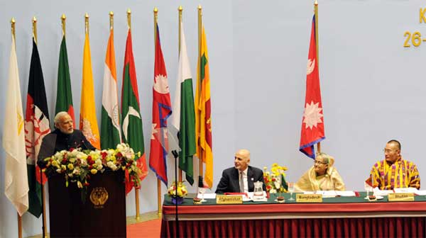The Prime Minister, Narendra Modi addressing the inaugural session of the 18th SAARC Summit, in Kathmandu, Nepal, on November 26, 2014.