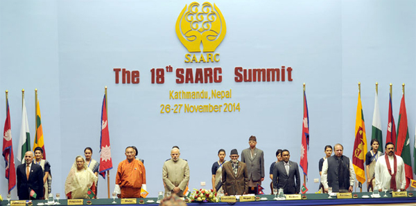 The Prime Minister, Narendra Modi along with the SAARC leaders, at the concluding session of the 18th SAARC Summit, in Kathmandu, Nepal on November 27, 2014.