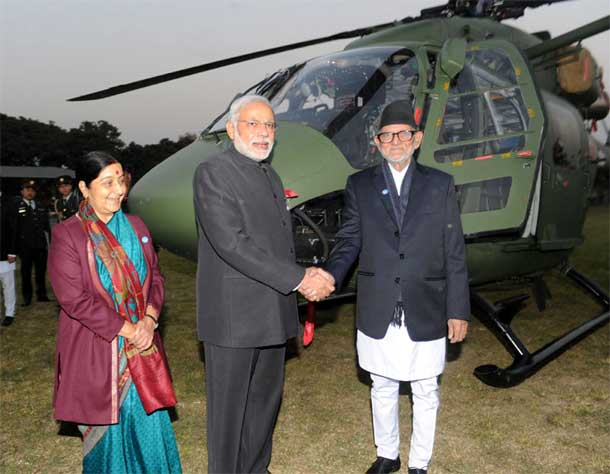 Prime Ministeri Narendra Modi handing over the Dhruv ALH to Nepal Army