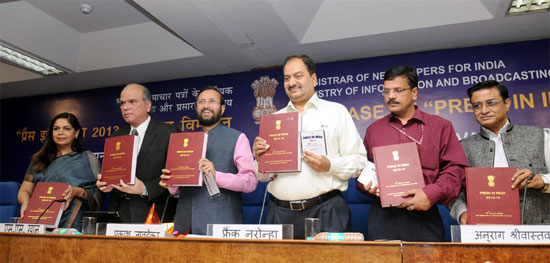 """Minister of State for Information and Broadcasting (I/C), Environment, Forest and Climate Change (I/C) and Parliamentary Affairs, Shri Prakash Javadekar releasing the annual report """"Press in India"""" brought out by the Registrar of Newspapers for India, RNI"""