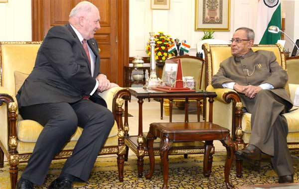 The Governor General of Australia, General Sir Peter Cosgrove calling on the President, Pranab Mukherjee, in New Delhi on December 02, 2014.