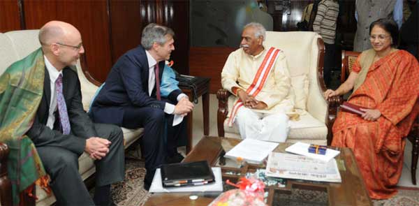 The Ambassador of Germany in India, Micheal Steiner calling on the Minister of State for Labour and Employment (Independent Charge), Bandaru Dattatreya, in New Delhi on December 04, 2014. The Secretary, Ministry of Labour and Employment,  Gauri Kumar is also seen.