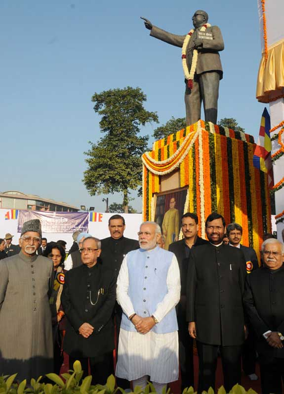 The President, Pranab Mukherjee, the Vice President, Mohd. Hamid Ansari, the Prime Minister, Narendra Modi, the Union Minister for Consumer Affairs, Food and Public Distribution, Ram Vilas Paswan, the Secretary, Social Justice & Empowerment, Sudhir Bhargava and other dignitaries paid tributes to the Bodhisatva Babasaheb Dr. B.R. Ambedkar on his 59th Mahaparinirvan Diwas, in New Delhi on December 06, 2014.