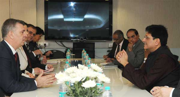 The Romanian parliament delegation meeting the Minister of State (Independent Charge) for Power, Coal and New and Renewable Energy, Piyush Goyal, in New Delhi on December 08, 2014.