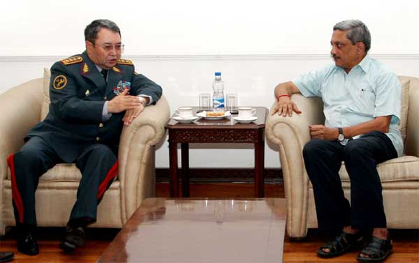 The First Deputy Minister of Defence and Chief of General Staff of the Armed Forces of the Republic of Kazakhstan, Col. Gen. Zhassuzakov Saken Adilkhanovich calling Union Minister for Defence, Manohar Parrikar, in New Delhi on December 08, 2014.