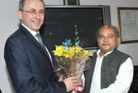 The State Minister of Economy, Poland, Jerzy Witold Pietrewicz meeting the Union Minister for Mines and Steel, Narendra Singh Tomar,