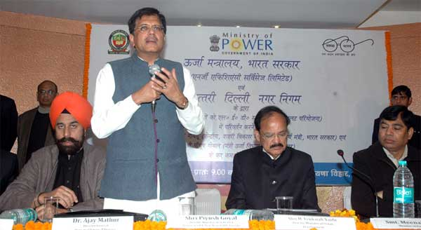 The Minister of State (Independent Charge) for Power, Coal and New and Renewable Energy, Piyush Goyal addressing at the launch of the LED based Energy efficient smart street lights in MCD, in New Delhi on December 20, 2014. The Union Minister for Urban Development, Housing and Urban Poverty Alleviation and Parliamentary Affairs, M. Venkaiah Naidu is also seen.