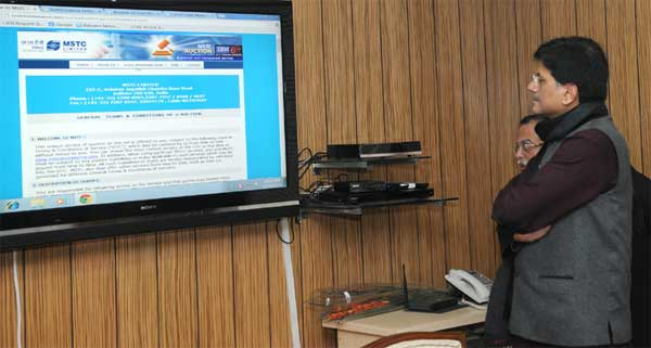 The Minister of State (Independent Charge) for Power, Coal and New and Renewable Energy, Piyush Goyal launching the portal for e-auction of coal mines, in New Delhi on December 25, 2014.