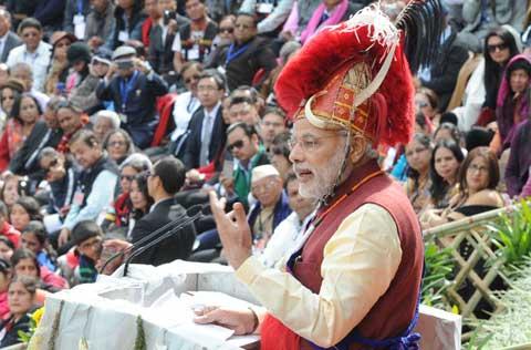 Prime Minister Narendra Modi addressing at the Hornbill Festival, at Kohima, in Nagaland