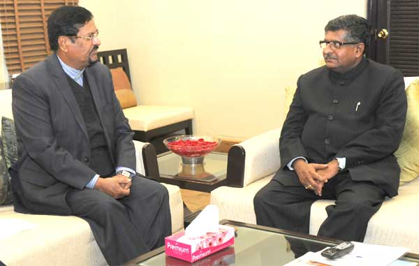 The Vice Prime Minister of Mauritius, Showkutally Soodhun meeting the Union Minister for Communications & Information Technology, Ravi Shankar Prasad, in New Delhi on January 09, 2015.