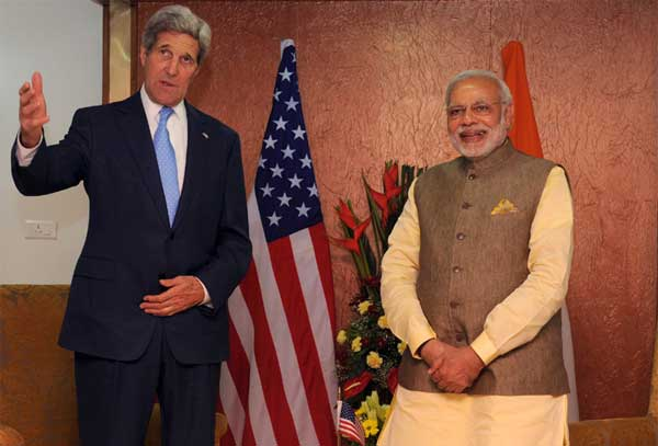 The Prime Minister, Narendra Modi meeting the US Secretary of State, John Kerry, in Gandhinagar, Gujarat on January 11, 2015.