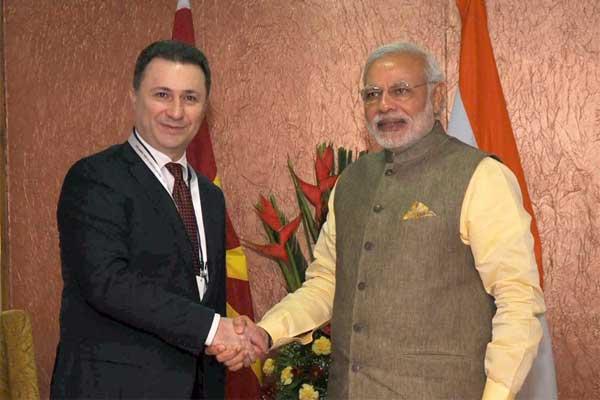 The Prime Minister, Narendra Modi meeting the Prime Minister of Macedonia, Nicola Gruevski, in Gandhinagar, Gujarat on January 11, 2015.