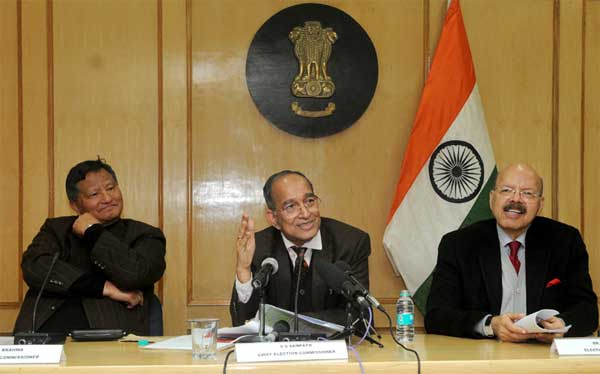 The Chief Election Commissioner, V.S. Sampath along with the Election Commissioners, H.S. Brahma and Dr. Syed Nasim Ahmad Zaidi addressing a Press Conference, in New Delhi on January 12, 2015.