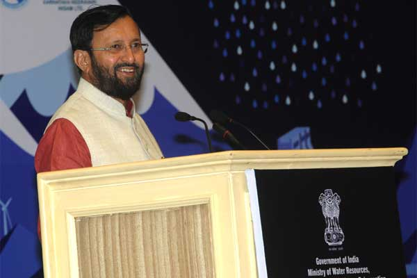 The Minister of State for Environment, Forest and Climate Change (Independent Charge), Prakash Javadekar addressing at the inauguration of the India Water Week 2015, in New Delhi on January 13, 2015.