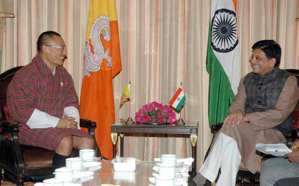 The Prime Minister of Bhutan, Tshering Tobgay calling on the Minister of State (Independent Charge) for Power, Coal and New and Renewable Energy, Piyush Goyal, in New Delhi on January 14, 2015.
