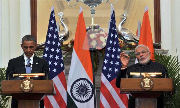 Prime Minister Narendra Modi with the US President Barack Obama during the Joint Press Interaction