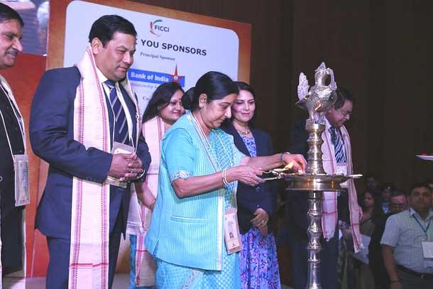 Sushma Swaraj, External Affairs Minister at the Youth Pravasi Bharatiya Divas in Gandhi Nagar, Gujarat
